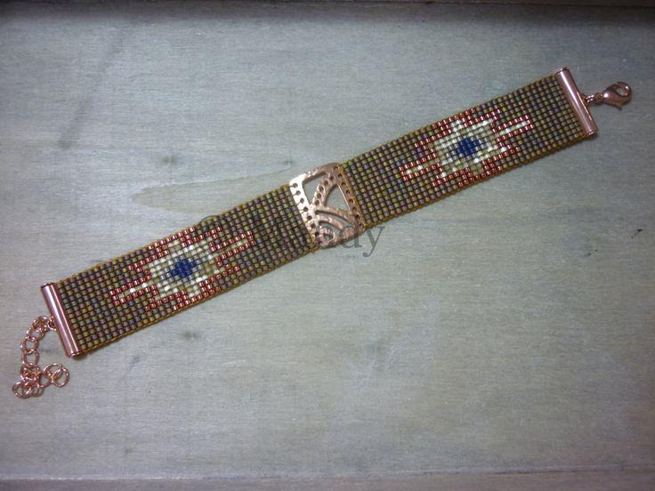 Handgeweven kralenarmbandje Miyuki armband native stijl rose goud winter warm hand geweven handgemaakt Loom beaded bracelet geweven beads door MadeByMandyNL op Etsy
