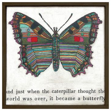 Colorful Butterfly Reclaimed Wood Art Print Wall Art - Small - transitional - Prints And Posters - Kathy Kuo Home