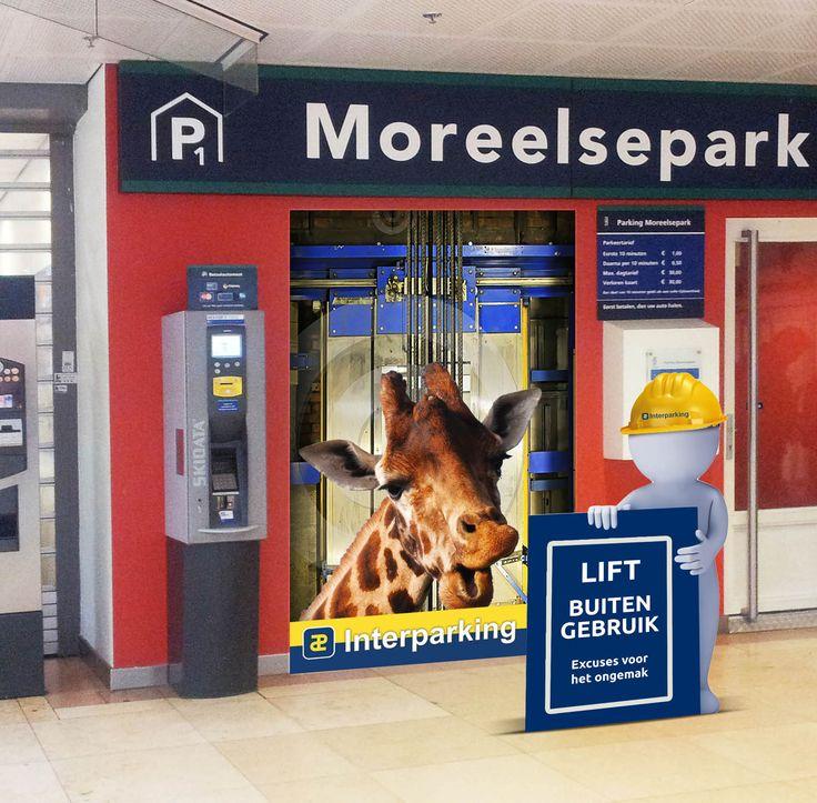 """Interparking. Ontwerp/concept lift """"Giraffe""""buitengebruik. Door Reclamebureau Holland. Jochem Albrecht"""