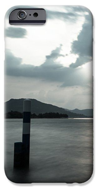 Stormy Sunset On The Lake iPhone Case by Cesare Bargiggia