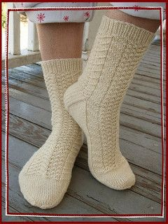 Toe up sock, with cable and gansey pattern.
