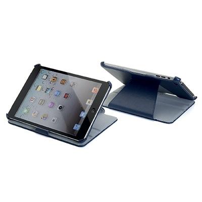 NOVITA' gennaio 2013  Custodia a libro dedicata per iPad Mini in ecopelle blue navy di alta qualità con funzione stand regolabile in due posizioni.