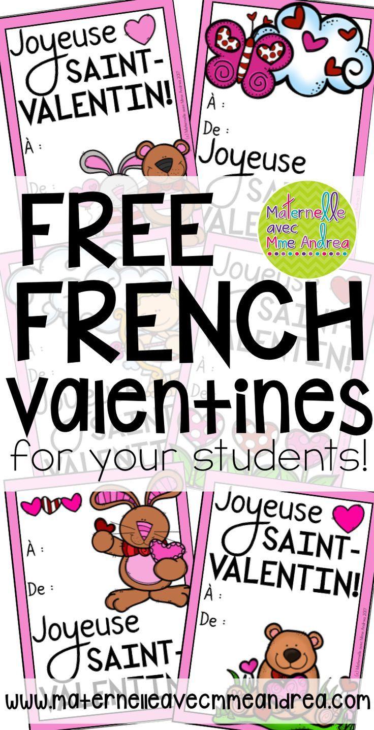 FREE French Valentines | French Valentine's Day Cards | GRATUIT | Cartes pour la Saint-Valentin