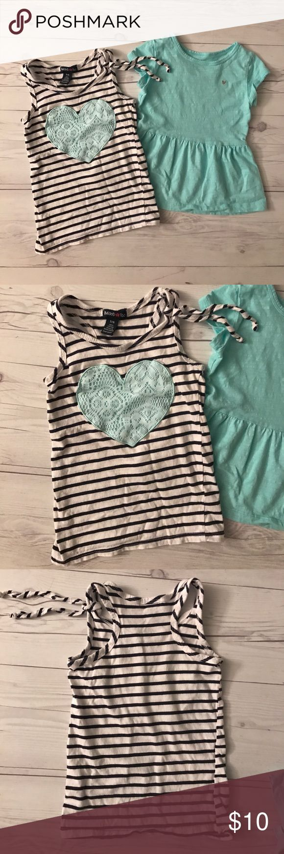 Two tops Two cotton tops. The stipe top is by Limited too and the teal top is by Carters. Both items size 5T. Excellent condition no rips or stains. I have lots of children's clothing check out my closet. ALL ITEMS ARE BUY 3 GET 1 FREE! Carter's Shirts & Tops