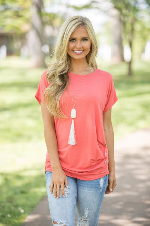 A Radiant Love Blouse Coral - The Pink Lily