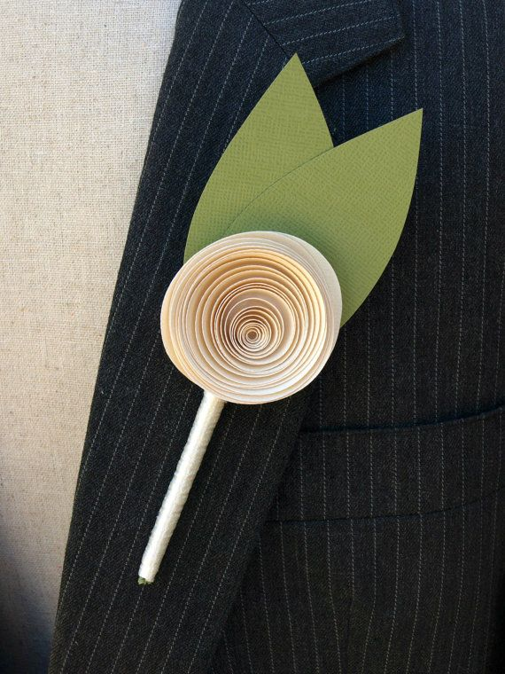 Cream Paper rose Buttonhole / Boutonniere for a by PulpPetals, $23.00