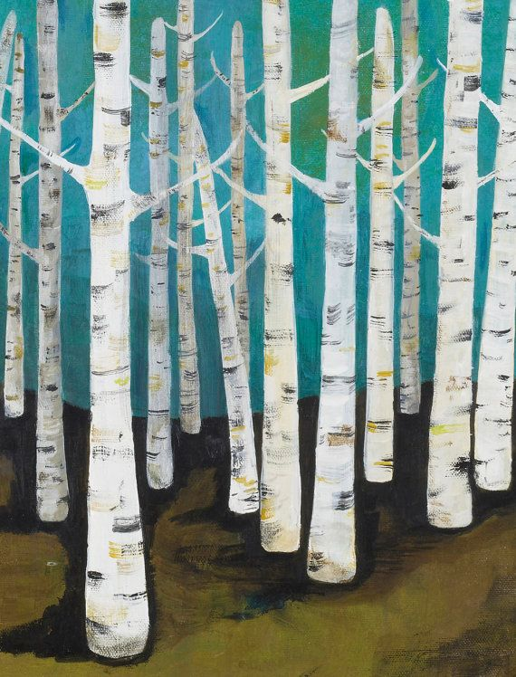 Large Birch Tree Forest Archival Print by lisacongdon on Etsy, $36.00