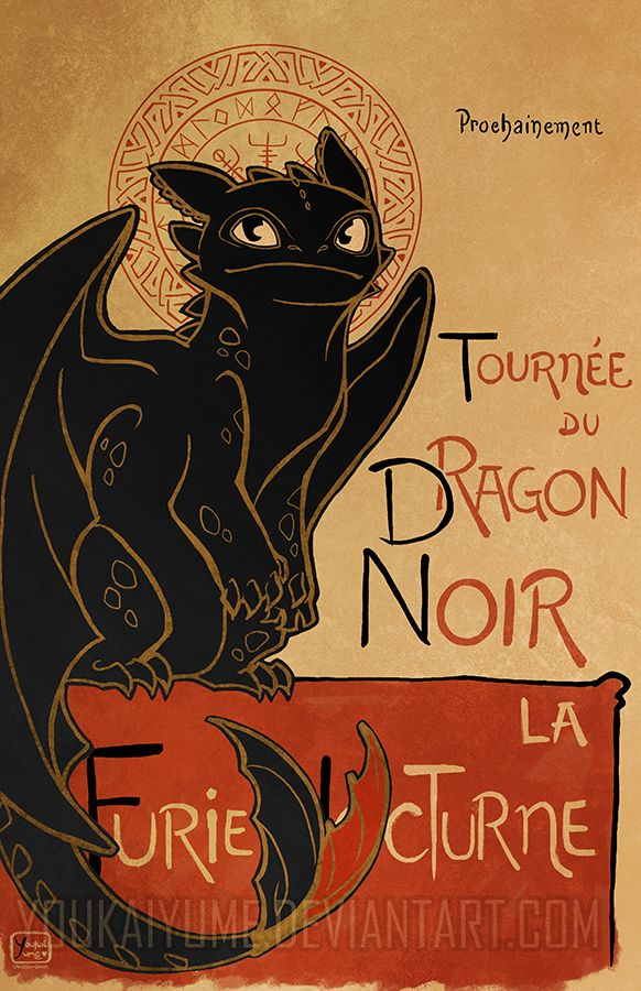 """How to Train Your Dragon"" parody on the famous French ""Le Chat Noir"" poster by Theophile Steinlen  Featuring Toothless the Night Fury Dragon!  Size: 11x17'' Printed on: Glossy card stock paper.  Artist signature upon request!  *Actual product will not have watermark stamped over image."