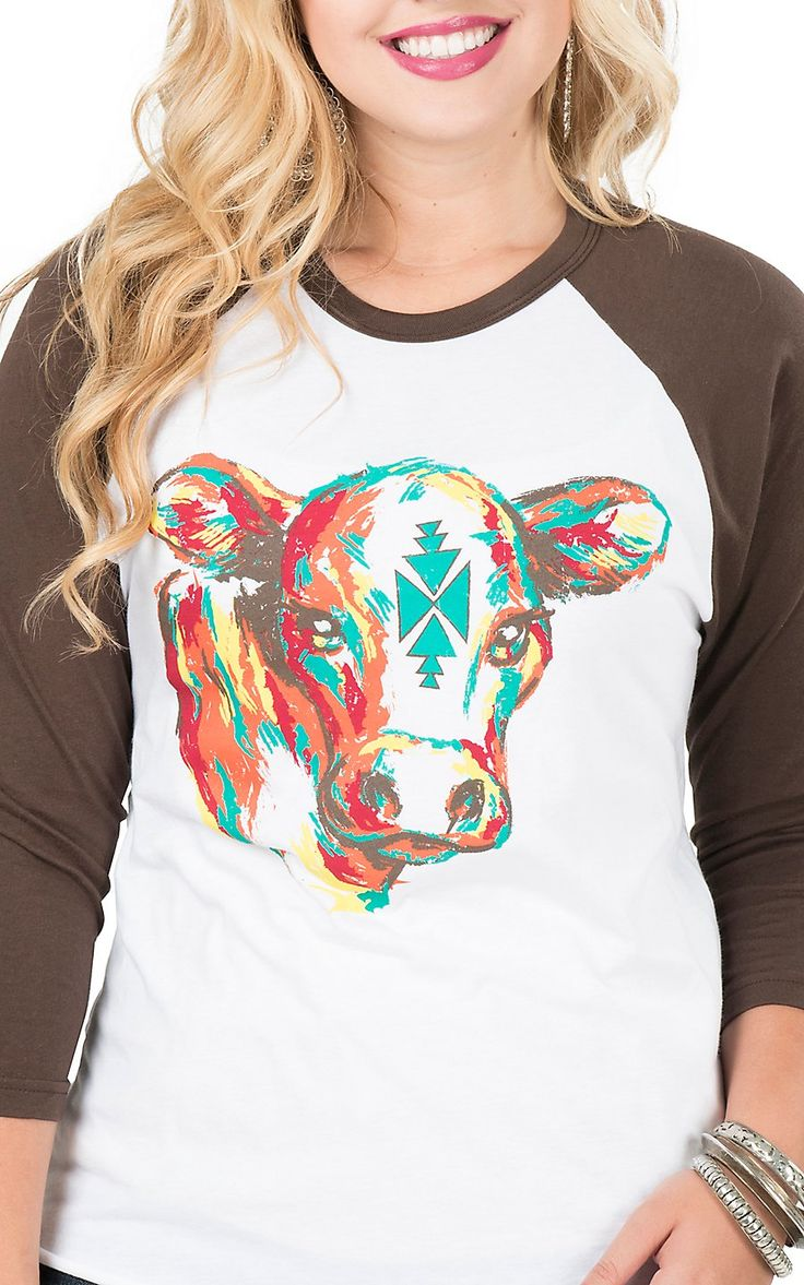 Crazy Train Women's White with Multi Aztec Cow Brown 3/4 Baseball Sleeves Casual Knit Top | Cavender's