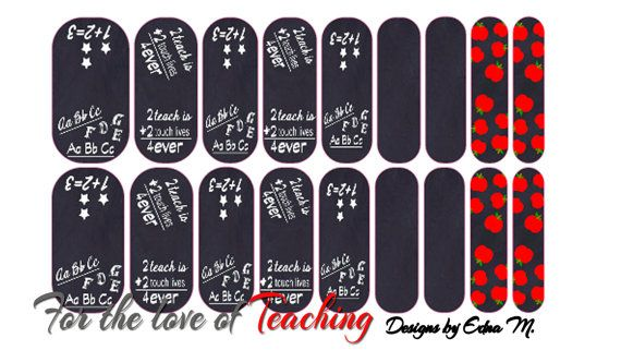 Teacher Nail Wraps Black and white Chalkboard Nail Art by MisManos