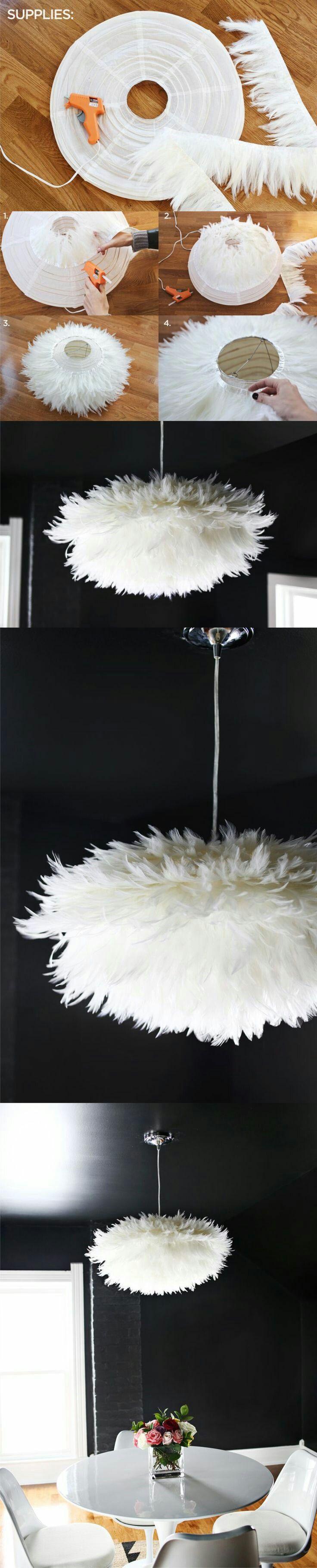 DIY Feather chandelier