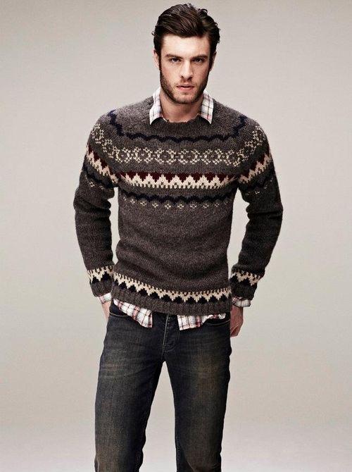 Men's Brown Fair Isle Crew-neck Sweater, Brown Plaid Long Sleeve Shirt, Charcoal…
