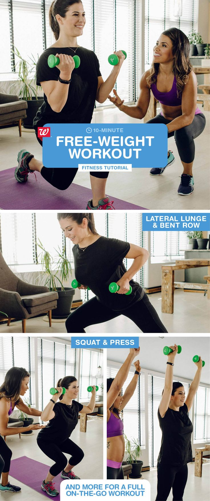 For an effective body-boosting workout, all you need is a pair of dumbbells, a yoga mat and 10 minutes. Add bicycle kicks to tone your abs: 1) Lie down on mat. 2) Place hands behind head. 2) Using your abs—not your arms—cycle legs toward opposite elbows. Click to download the Walgreens app and start tracking your steps today!