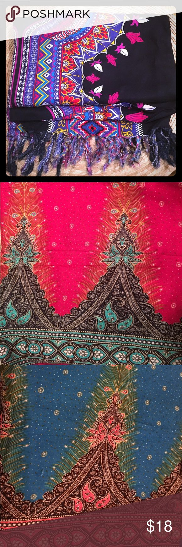 🌟NIP: Brand New Sarong Wraps. Various Patterns-OS Brand new sarongs in various colors and patterns: black (1st pic), turquoise, magenta pink, & black/green/yellow.  The first 3 are wraps with tassels in the ends. The last kimono in photos has a tie with a hole for a wrap skirt. What's Sa-rong? Swim Sarongs