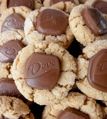Dove Peanut Blossoms - i've used this recipe before w/ Hershey Kisses instead of Dove - it makes an amazing peanut butter cookie - super soft!