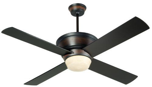 Craftmade KI52OBMA Kira 52 Inch Ceiling Fan, Oiled Bronze/Mahogany Motor with Oiled Bronze Blades and Integrated Light Kit Overall height 15.5-inches with longest included downrod; height is adjustable with shorter/longer downrods (sold separately). Includes 2-13 watt compact fluorescent bulbs. Oiled bronze/mahogany finish with integrated downlight. UL Listed for a dry location. Transitional or co... #Craftmade #Home_Improvement