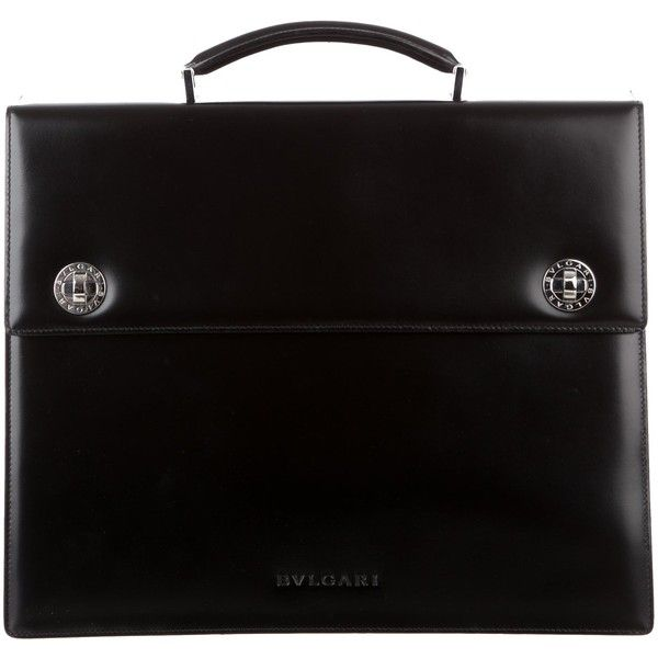 Pre-owned Bvlgari Leather Triple-Gusset Briefcase ($745) ❤ liked on Polyvore featuring men's fashion, men's bags, men's briefcases, black, mens briefcase and mens leather briefcase