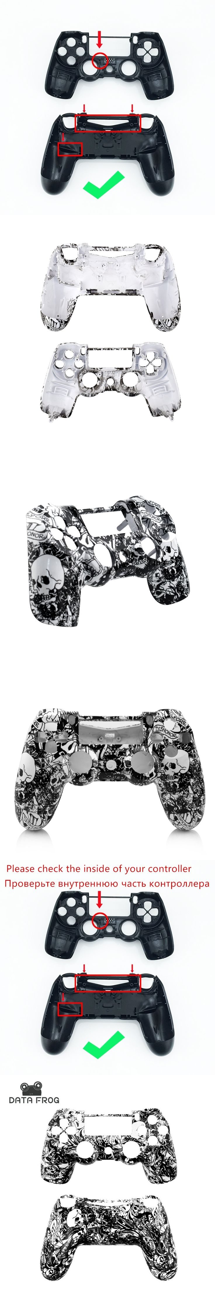 Custom Hydro Dipped White crazy skull Front & Back Shell Case For Sony Playstation 4 PS4 Controller case accessories