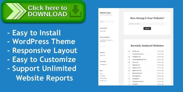 [ThemeForest]Free nulled download Web Stats - WordPress Theme that can Generate Unlimited Website Analysis Reports from http://zippyfile.download/f.php?id=57238 Tags: ecommerce, php script, seo report, seo tool, website analyzer, website audit, website review, website statistics, website valuation, website value, wordpress template
