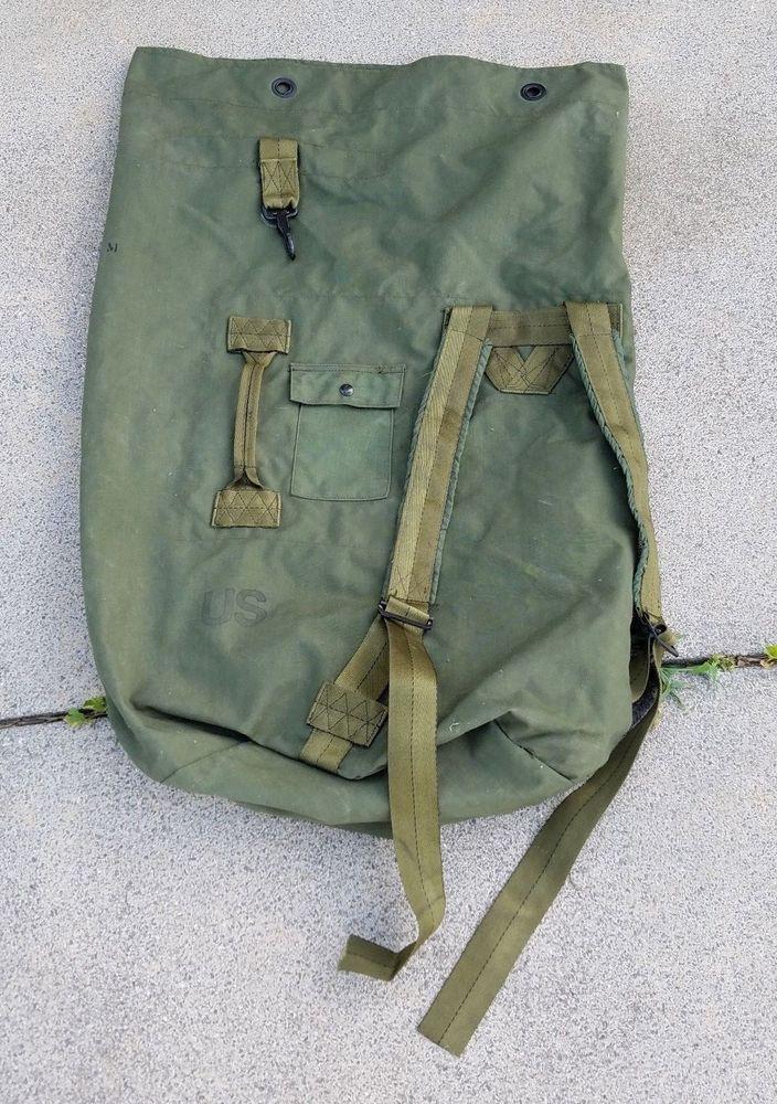 Vintage Vietnam Era US Military Issue Duffle Duffel Bag Backpack Sack Army  USMC 309a969be88b1