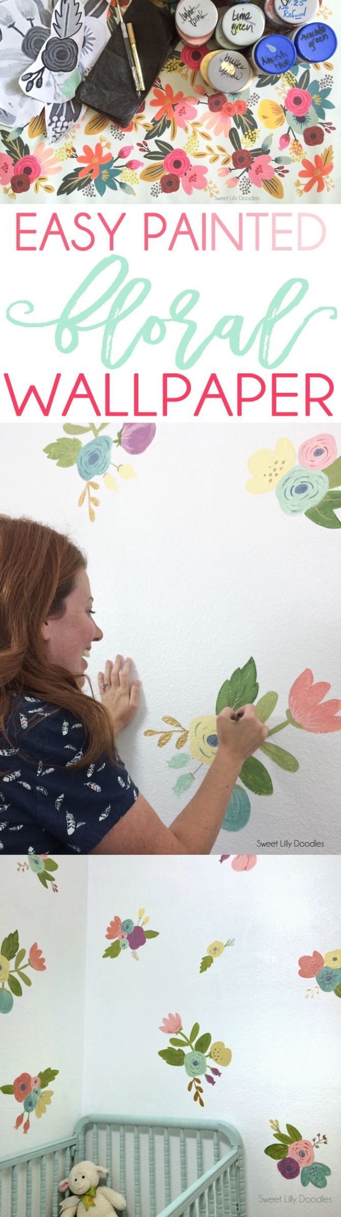 """Easy Floral Painted Faux Wallpaper Tutorial via <a href=""""http://sweetlillydoodles.etsy.com"""" rel=""""nofollow"""" target=""""_blank"""">sweetlillydoodles...</a>"""