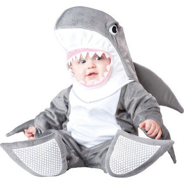 Sharks and babies have something in common: ravenous hunger! This adorable shark costume fits babies 12-24 months. - Headpiece - Jumpsuit - Booties - SKU: CA-020260