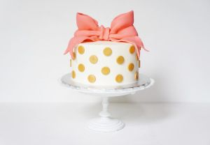 The Welch Cupcakery: Gold Polka Dot and Coral Cake