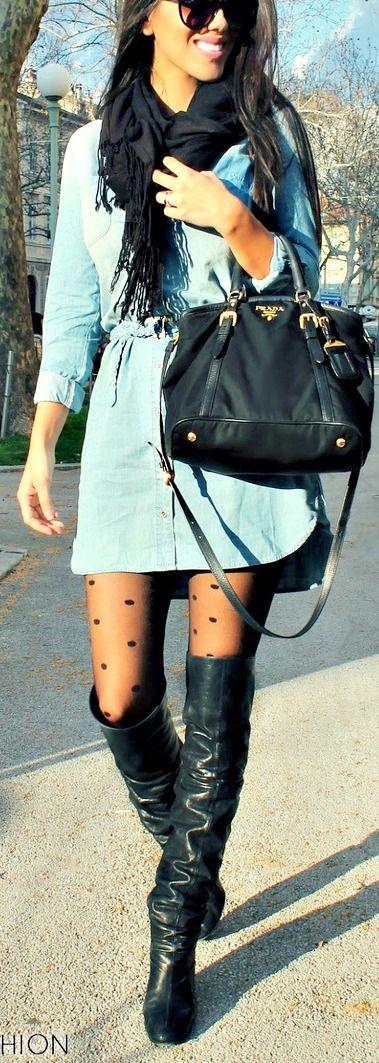 Playful, Sexy Polka Dot Tights + Denim Dress= Perfect Spring Style!!!  Sheer Black Polka Dot Tights LESS than $10!!! http://www.hotlegsusa.com/P/284/SheerPantyhosewithWovenPolkaDotThighHighDetail