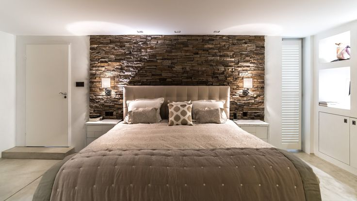 Fantastic bedroom design by Global Moodmakers #stone #kingsize #bed #beige #brown #white #lighting #light #tiles #lovely #great #interior #design