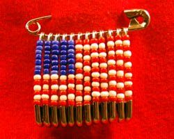 American flag safety pin brooch.