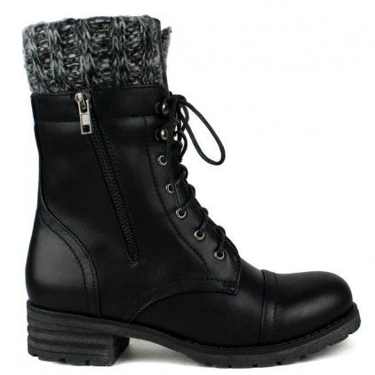 Black flat lace-up combat ankle-boots with knit trim cuff design #cutesyoriginals: