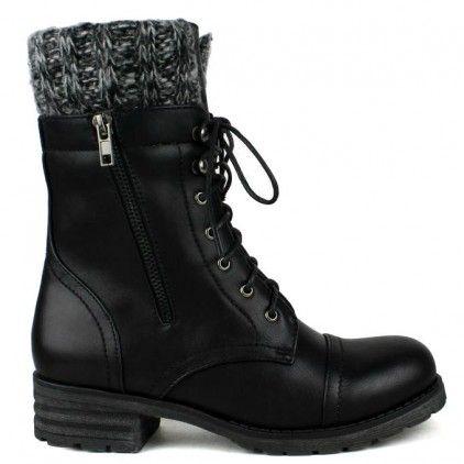 Black flat lace-up combat ankle-boots with knit trim cuff design #cutesyoriginals:
