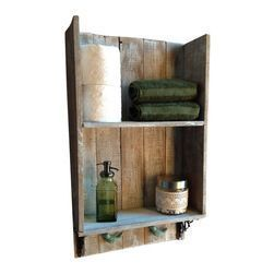 barn wood shelving above toilet in bathroom | Wash – This shelf is made 100% out…  – shelves