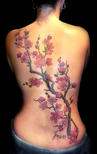 Cherry blossom tree back piece by Andrea at Slave to the Needle in Seattle WA