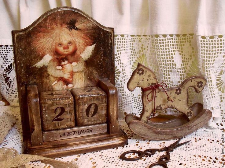 Купить Вечный календарь АНГЕЛ -ХРАНИТЕЛЬ - календарь, календарь ручной работы, календарь декупаж