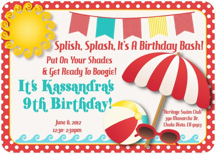 15 best Pool Party images on Pinterest Parties kids, Pool parties - best of invitation templates for beach party