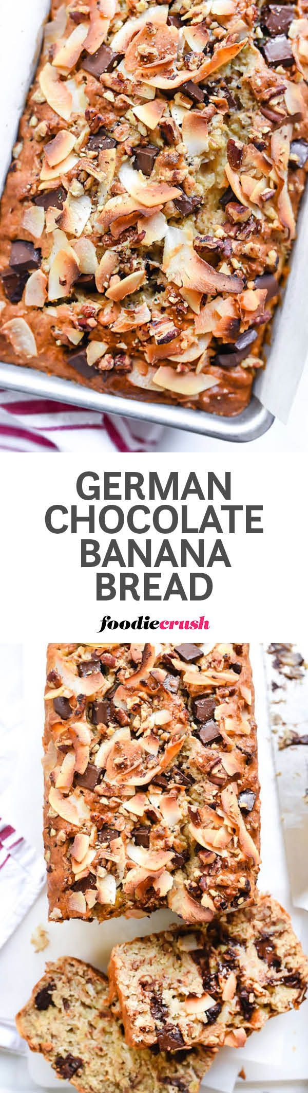 My favorite banana bread recipe gets a pecan, coconut and chocolate chunk upgrade, making this quick bread a dessert lovers dream | http://foodiecrush.com #bread #bananabread
