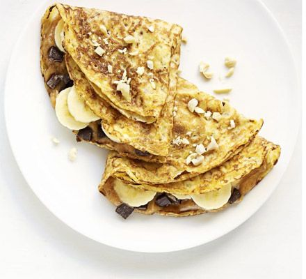 I made this choc chip, peanut butter & banana pancake filling over the weekend & it was AMAzing!  Highly recommended.