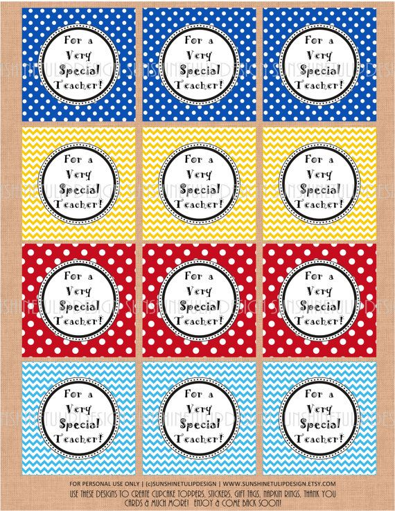 For A Very Special Teacher Tags Sticker Labels Cupcake Toppers Whatever You Like Diy