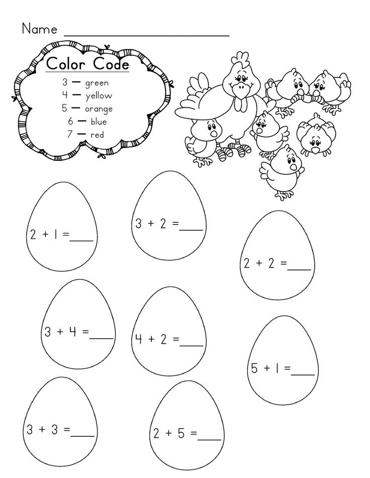 chicken and eggs addition worksheet good for morning work easter kindergarten math. Black Bedroom Furniture Sets. Home Design Ideas