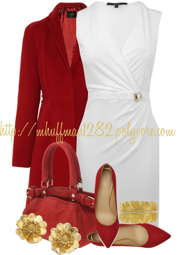 """""""White, Red and Gold"""" by mhuffman1282 ❤ liked on Polyvore"""