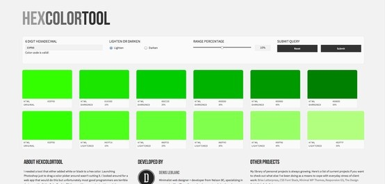 Great tool to easily discover tints of a certain color
