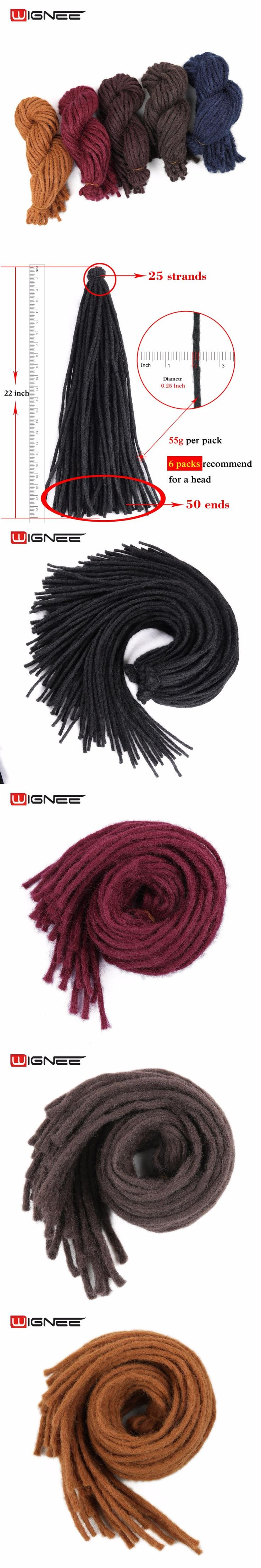 Wignee Dreadlock Hair Extension For Black Women High Temperature Synthetic Fiber Crochet Twist Braids Red /Brown/Grey/ Fake Hair
