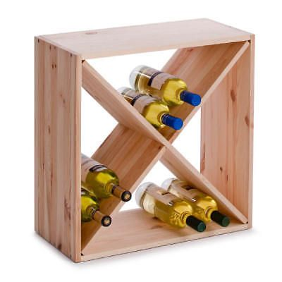 Weinregal Naturholz Flaschenregal Flaschenhalter Weinständer Holz 52X52X25cm