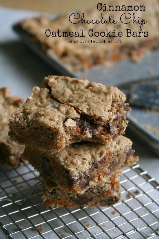 Cinnamon Chocolate Chip Oatmeal Cookie Bars | Jen's Favorite Cookies