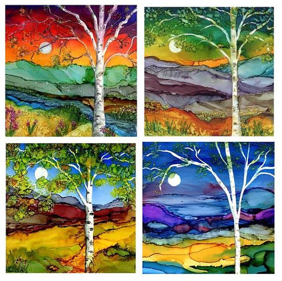 "Birch Tree Coaster Set- Four 4 1/4""x 4 1/4"" ceramic tiles. Prints of Alcohol Ink paintings."