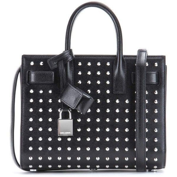 Saint Laurent Sac De Jour Nano Studded Leather Tote (£1,450) ❤ liked on Polyvore featuring bags, handbags, tote bags, purses, black, black tote purse, leather tote, black leather tote, handbags totes and leather hand bags