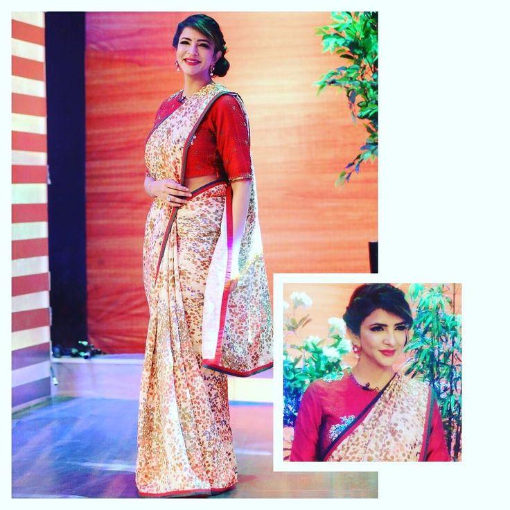 Lakshmi Manchu Wearing Printed Saree