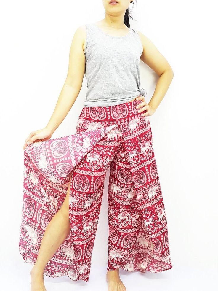 SOP7 Women Pants Maxi Trouser Rayon Trouser Comfy Trouser Open Leg Wide Leg Elephant Red