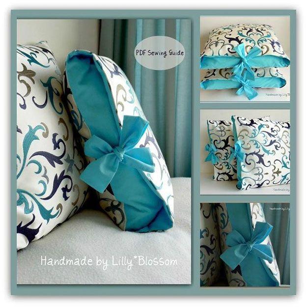 DIY Sewing Projects- Pillowcase Ideas -DIY Pillowcase with Ribbon Ties